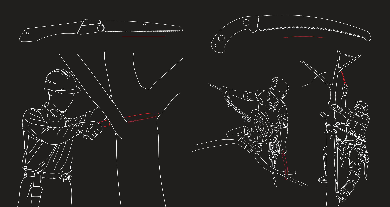 sawing above shoulder below knee DE